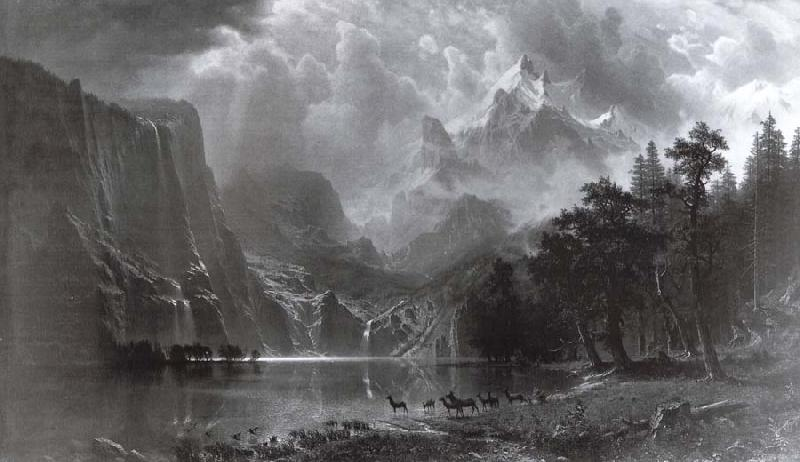 Albert Bierstadt Between the mountains of the Sierra Nevada in Californie