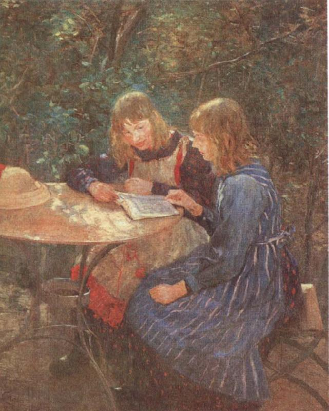 Fritz von Uhde Two daughters in the garden