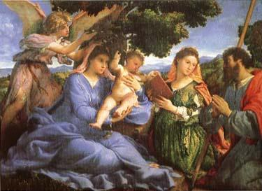 Lorenzo Lotto Madonna and child with Saints Catherine and James