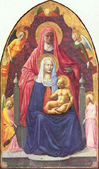 MASOLINO da Panicale Madonna and Child, Saint Anne and the Angels
