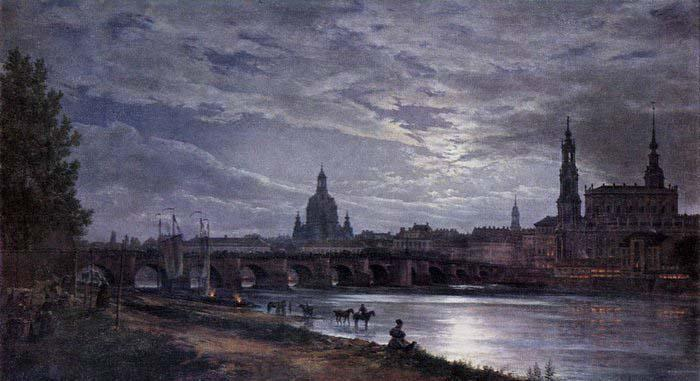 johann christian Claussen Dahl View of Dresden at Full Moon