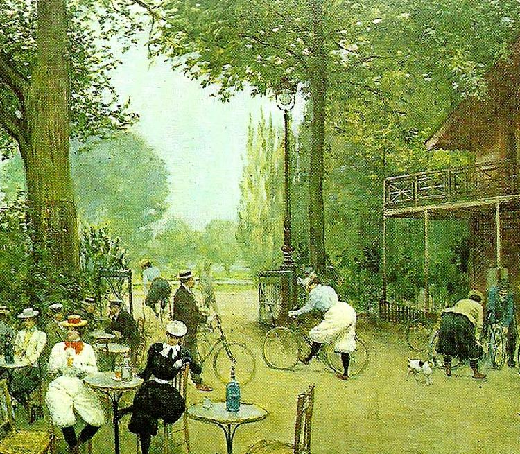 Jean Beraud the cycle hut in the bois de boulogne, c.