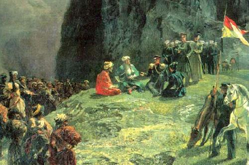 Grigory Gagarin The Meeting of General Kleke von Klegenau and Imam Shamil in 1837 by Gagarin