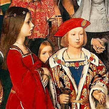 Richard Burchett Erasmus of Rotterdam visiting the children of Henry VII at Eltham Palace in 1499 and presenting Prince Henry with a written tribute.