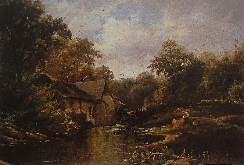 Theodore Fourmois Watermill in the Ardennes with angler