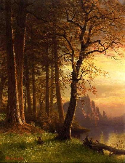 Albert Bierstadt Sunset in Californa Yosemite