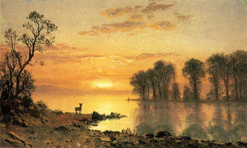 Albert Bierstadt Deer and River