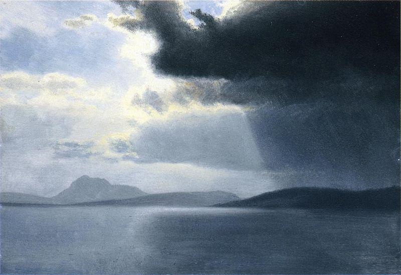 Albert Bierstadt Approaching Thunderstorm on the Hudson River