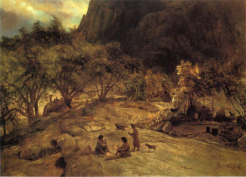 Albert Bierstadt Mariposa Indian Encampment, Yosemite Valley, California