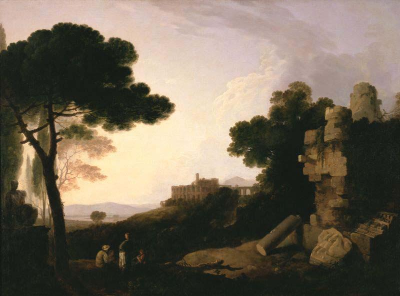 Richard Wilson Landscape Capriccio with Tomb of the Horatii and Curiatii, and the Villa of Maecenas at Tivoli