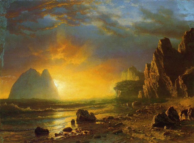Albert Bierstadt Sunset on the Coast