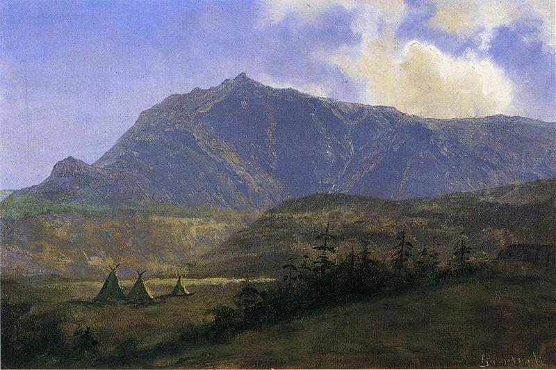 Albert Bierstadt Indian Encampment [Indian Camp in the Mountains]