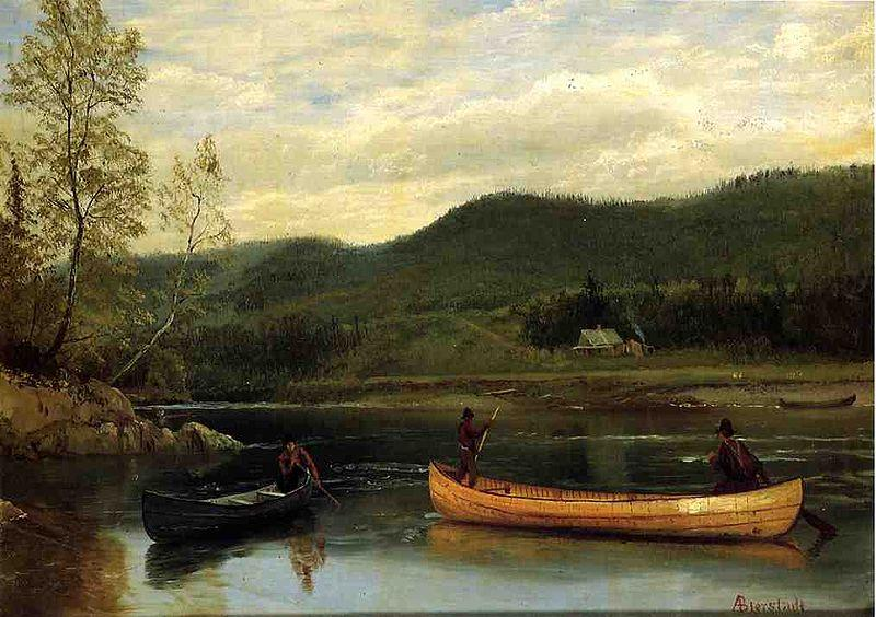 Albert Bierstadt Men in Two Canoes