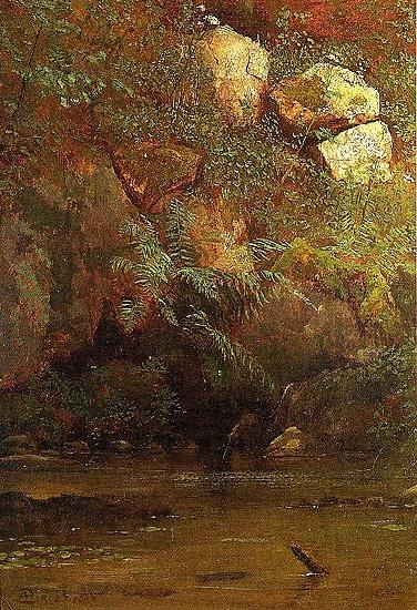 Albert Bierstadt Ferns_and_Rocks_on_an_Embankment