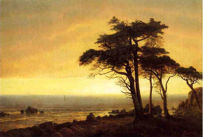 Albert Bierstadt The Sunset at Monterey Bay the California Coast