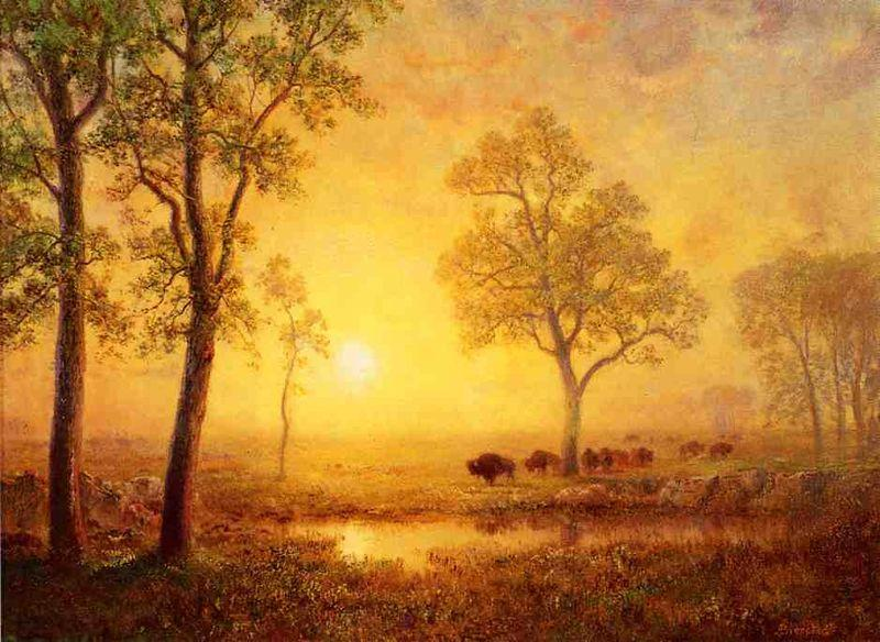 Albert Bierstadt Sunset on the Mountain