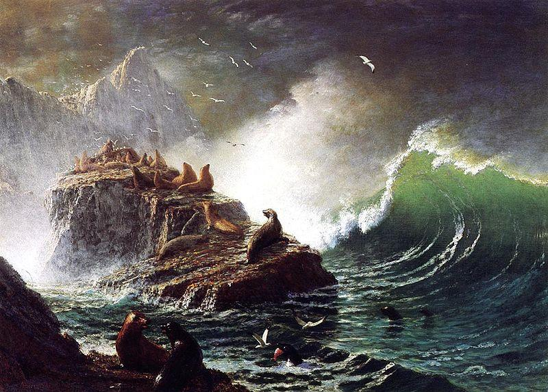 Albert Bierstadt Seals on the Rocks, Farallon Islands