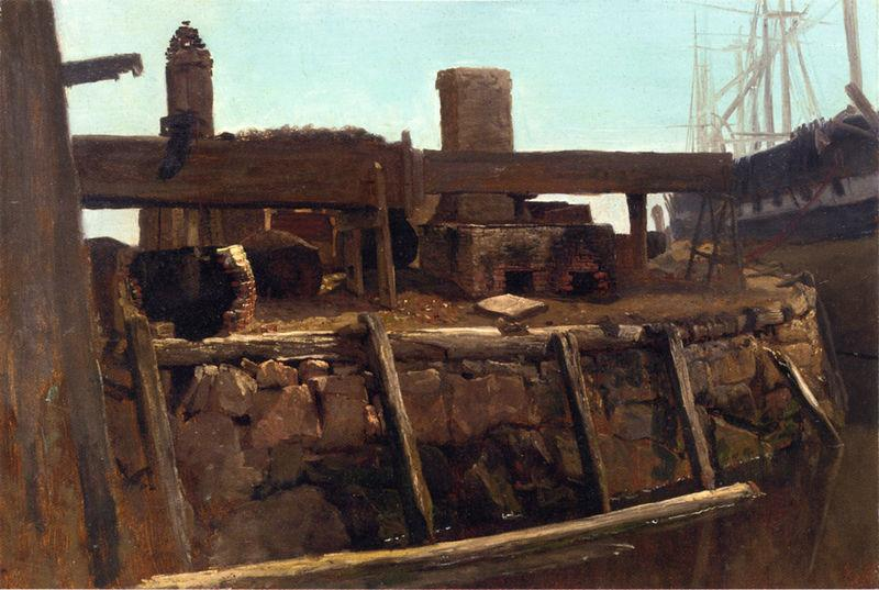 Albert Bierstadt Wharf Scene with Ship at Dock