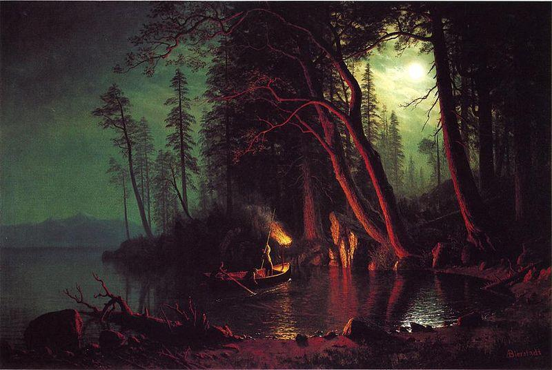 Albert Bierstadt Lake Tahoe, Spearing Fish by Torchlight