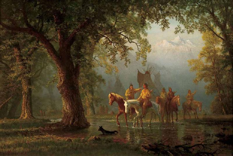 Albert Bierstadt Departure of an Indian War Party