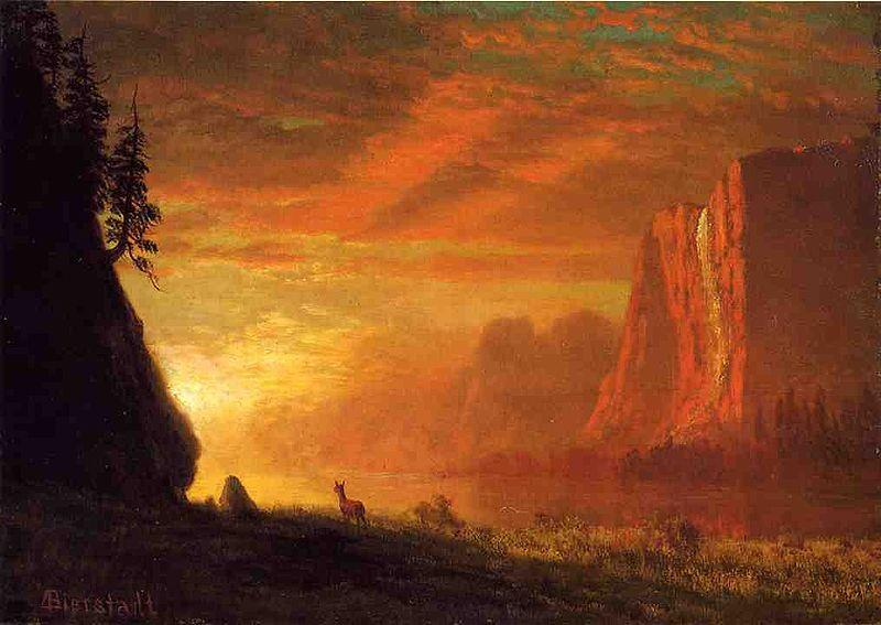 Albert Bierstadt Deer at Sunset