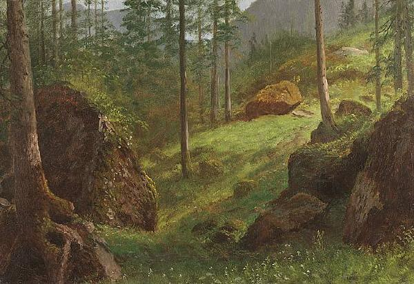 Albert Bierstadt Wooded Hillside