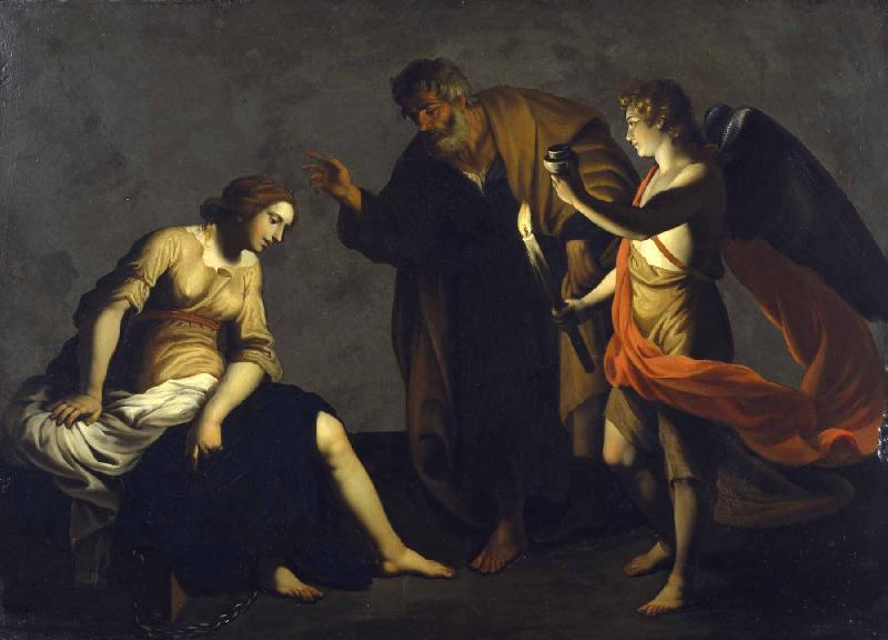 Alessandro Turchi Saint Agatha Attended by Saint Peter and an Angel in Prison