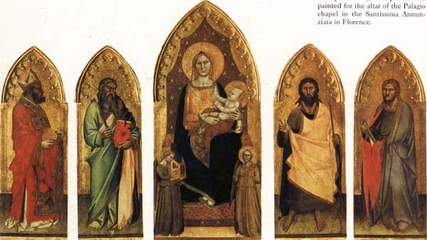 Andrea di Orcagna Madonna and Child Enthroned with Two Angels and SS.Andrew,Nicholas,john the Baptist and James