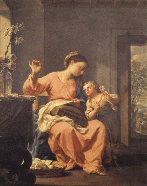 Francesco Trevisani Madonna Sewing with Child