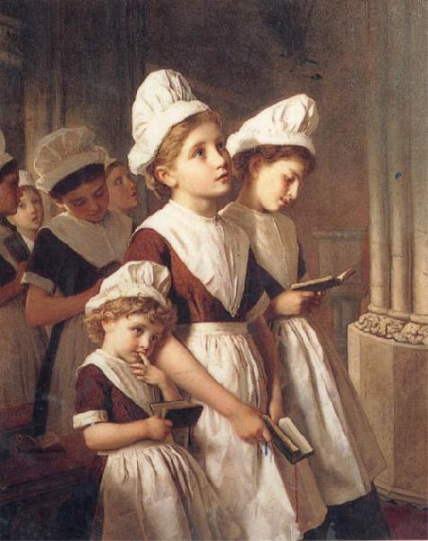 Sophie anderson Foundling Girls in their School Dresses at Prayer in the Chapel