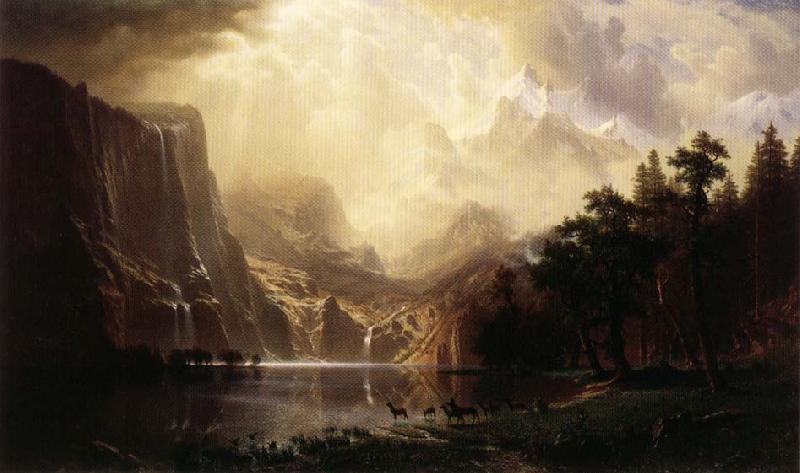 Albert Bierstadt Among the Sierra Nevada Mountains