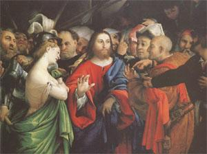 Lorenzo Lotto Christ and the Woman Taken in Adultery (mk05