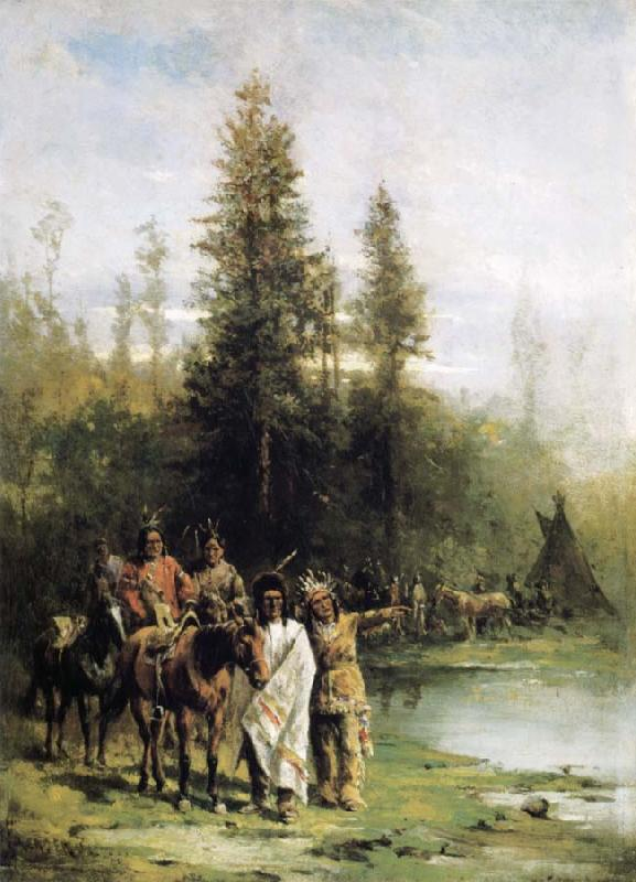 Paul Frenzeny Indians by a Riverbank
